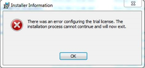 There was an error configuring the trial license  The